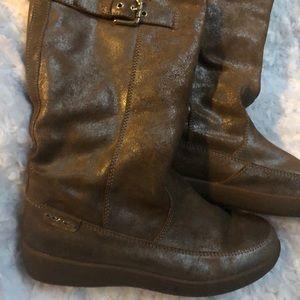 COACH Tanesha mid calf metallic fur winter boots